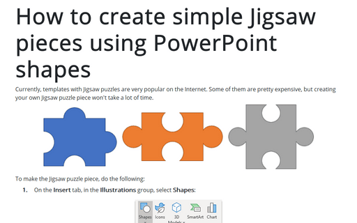 How to create simple Jigsaw pieces using PowerPoint shapes