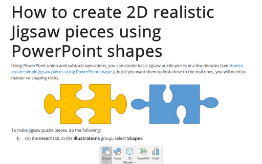 How to create 2D realistic Jigsaw pieces using PowerPoint shapes