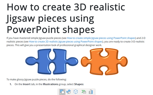 How to create 3D realistic Jigsaw pieces using PowerPoint shapes