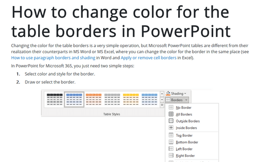 How to change color for the table borders in PowerPoint