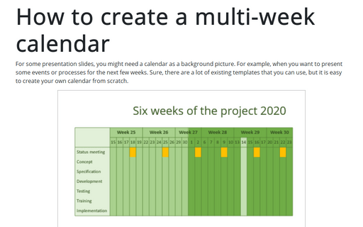 How to create a multi-week calendar