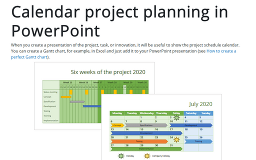 Calendar project planning in PowerPoint