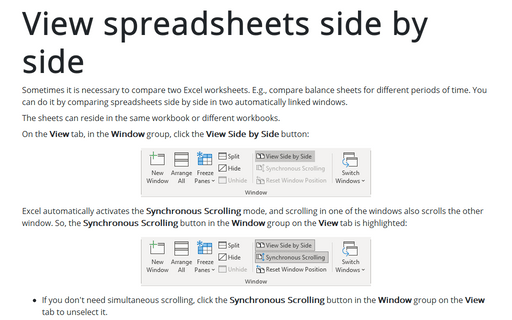 View spreadsheets side by side