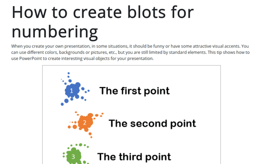 How to create blots for numbering