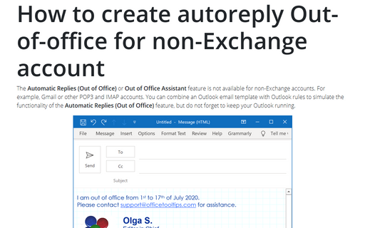 How to create autoreply Out-of-office for non-Exchange account