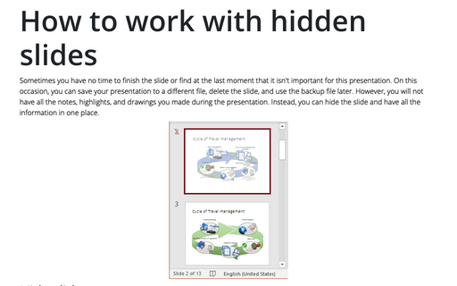 How to work with hidden sides