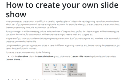 How to create your own slide show