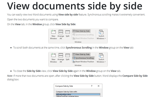 View documents side by side
