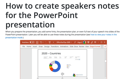 How to create speakers notes for the PowerPoint presentation