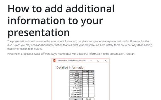 How to add additional information to your presentation