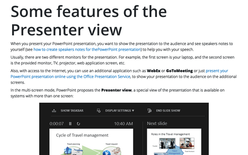 Some features of the Presenter view