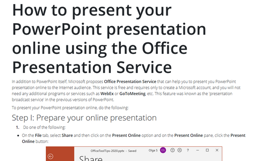 How to present your PowerPoint presentation online using the Office Presentation Service