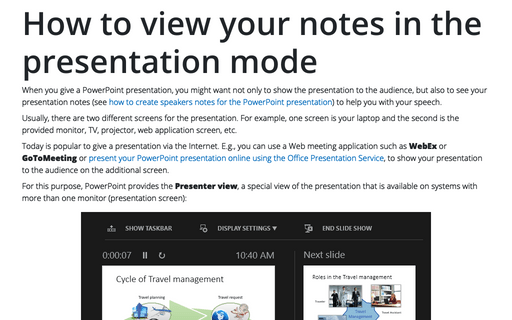 How to view your notes in the presentation mode