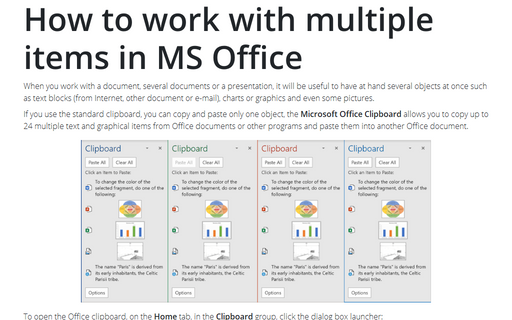 How to work with multiple items in MS Office