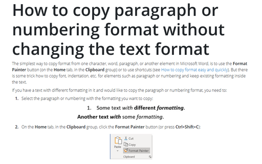 How to copy paragraph or numbering format without changing the text format