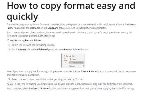 How to copy format easy and quickly