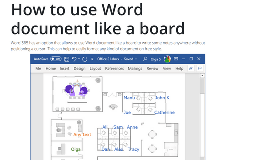 How to use Word document like a board