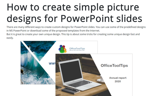 How to create simple picture designs for PowerPoint slides