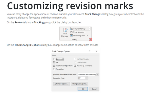 Customizing revision marks