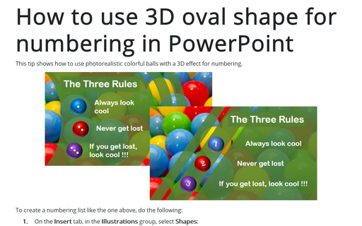 How to use 3D oval shape for numbering in PowerPoint