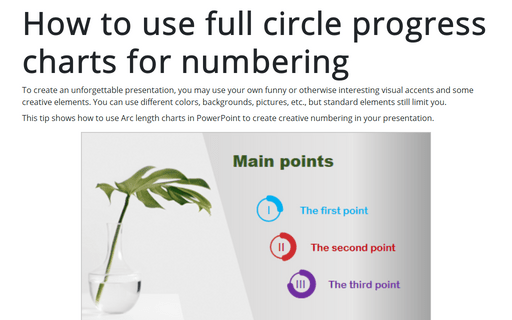 How to use full circle progress charts for numbering