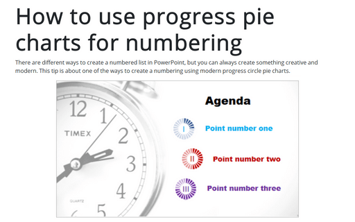 How to use progress pie charts for numbering in PowerPoint
