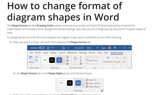 How to change format of diagram shapes in Word