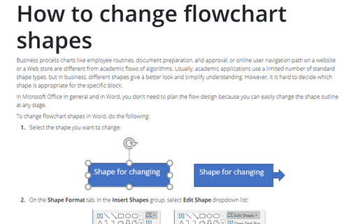 How to change flowchart shapes