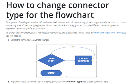 How to change connector type for the flowchart