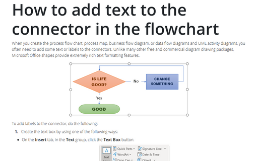 How to add text to the connector in the flowchart