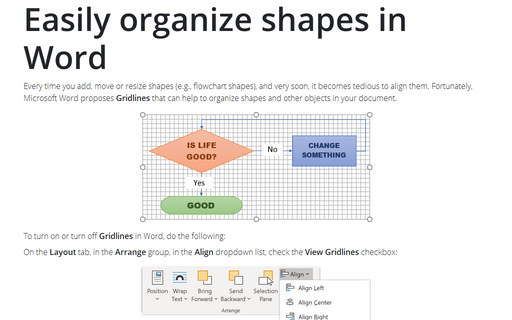 Easily organize shapes in Word