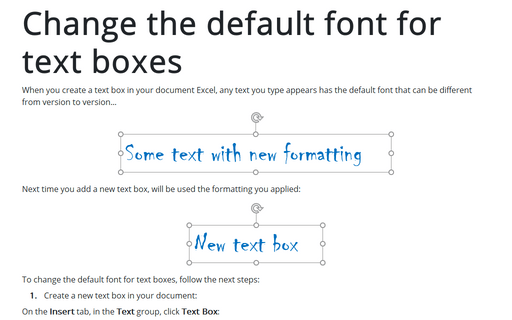 Change the default font for text boxes in Word