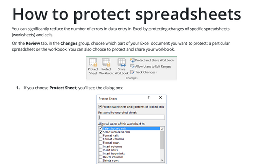 Protecting spreadsheets in Excel