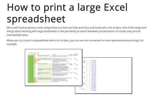 How to print a large Excel spreadsheet
