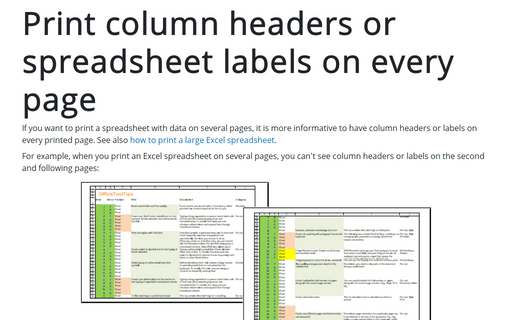 Print column headers or spreadsheet labels on every page