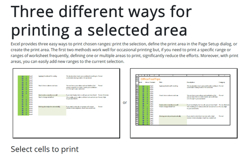 Three different ways for printing a selected area