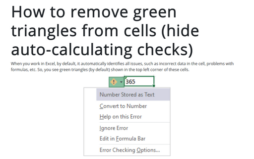 How to remove green triangles from cells (hide auto-calculating checks)