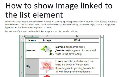 How to show image linked to the list element