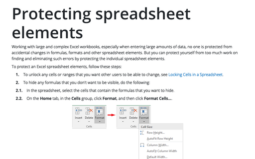 Protecting spreadsheet elements