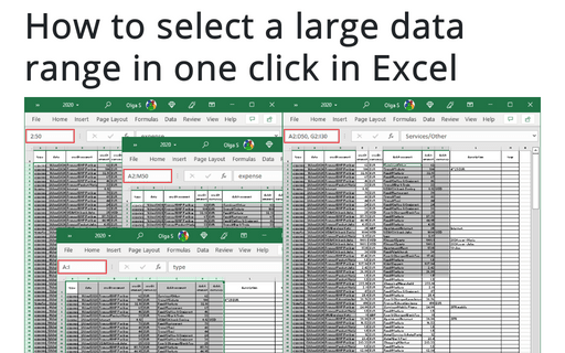 How to select a large data range in one click in Excel