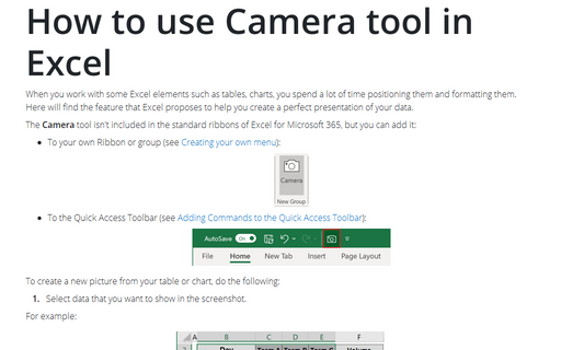 How to use Camera tool in Excel