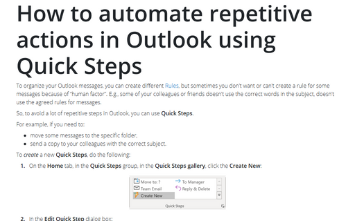 How to automate repetitive actions in Outlook using Quick Steps