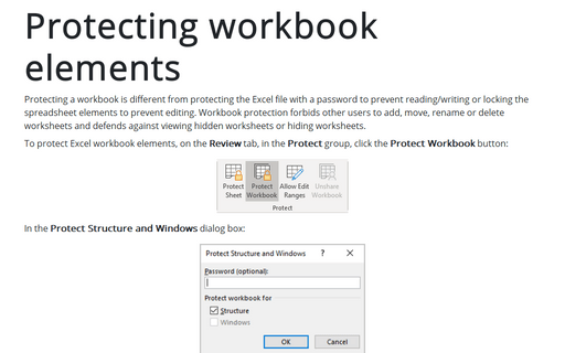 Protecting workbook elements