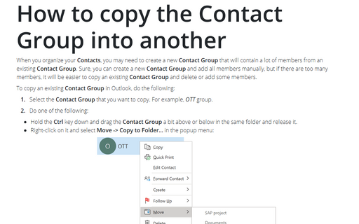 How to copy the Contact Group into another