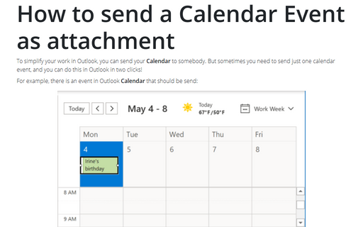 How to send a Calendar Event as attachment