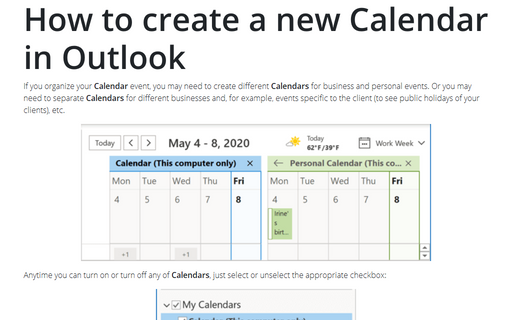 How to create a new Calendar in Outlook