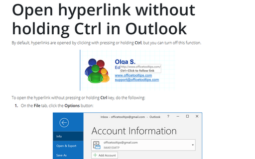 Open hyperlink without holding Ctrl in Outlook