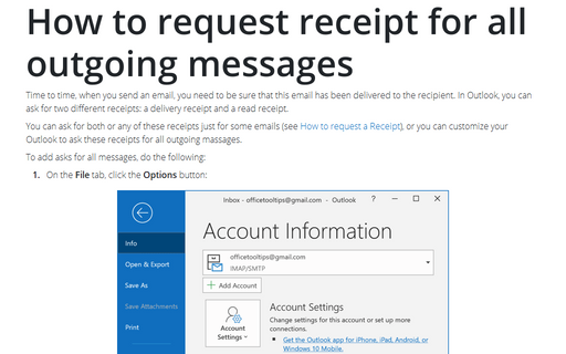 How to request receipt for all outgoing messages