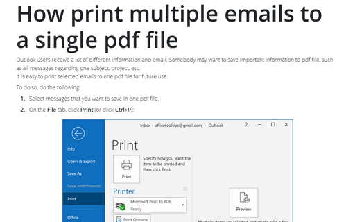 How print multiple emails to a single pdf file