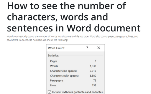 How to see the number of characters, words and sentences in Word document